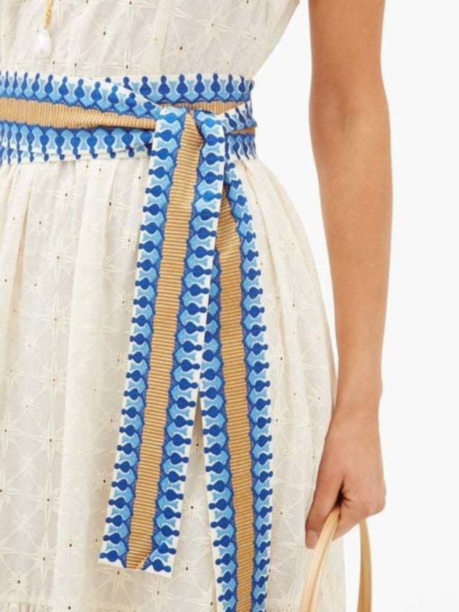 Evelin Belted Embroidered-Cotton Midi Dress