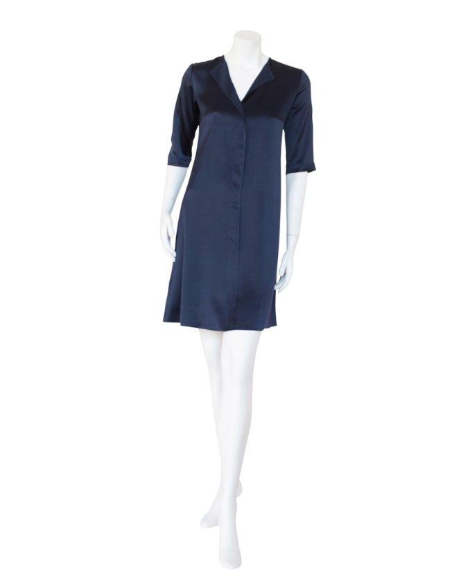 Ethnic Dress in High Shine Silk Navy