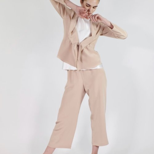 Silk Jacket and Pants in Buff