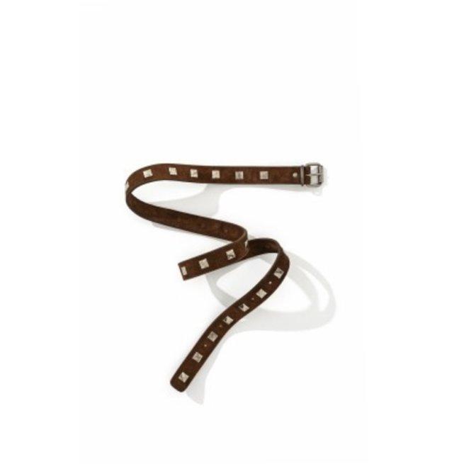 Square Stud Belt in Brown