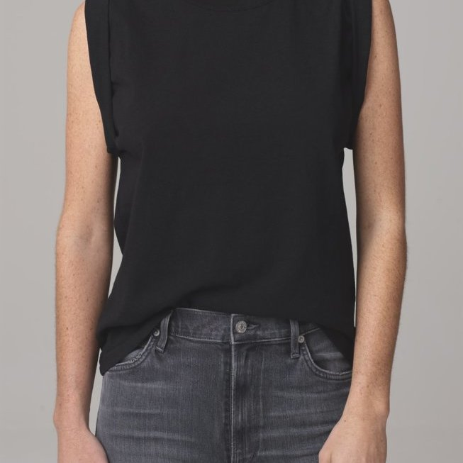 Jordana Rolled Sleeve Tee in Black