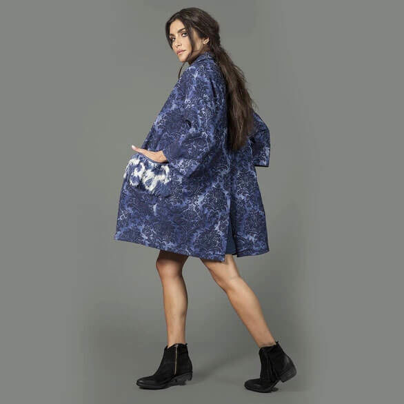 Denim Brocade Coat - Alessandra Chamonix