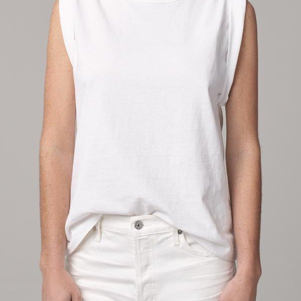 Jordana Rolled Sleeve Tee in White