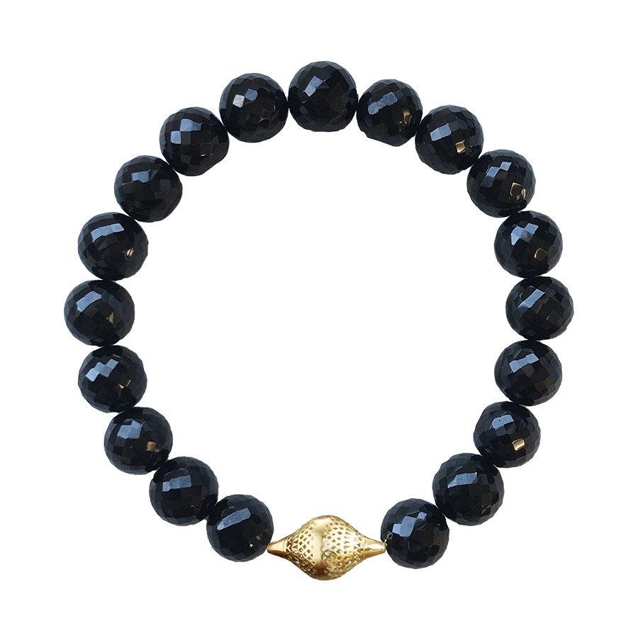 Black Spinel Stretch Bracelet with 18K Gold Finial