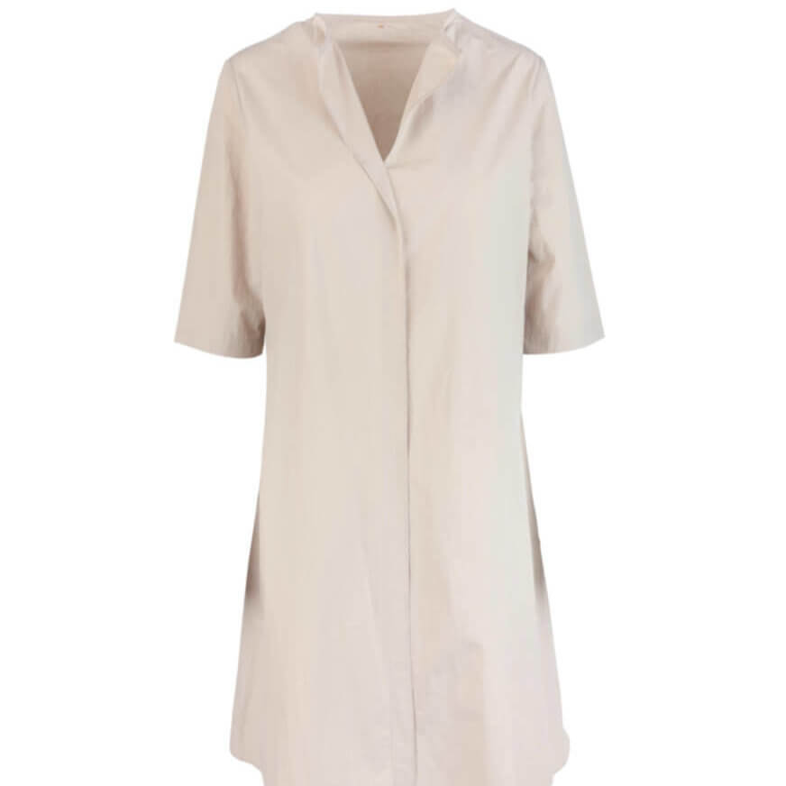Peter Cohen Ethnic Cotton Three-Quarter Sleeve Dress in Stone