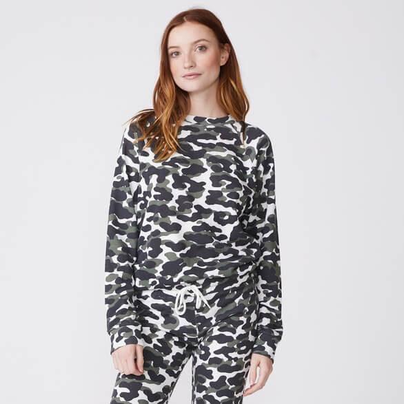 Monrow Animal Camo Slouchy Sweatshirt