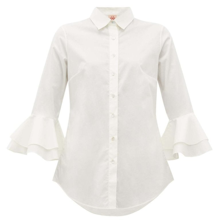 Nina Trumpet Sleeve Cotton Shirt