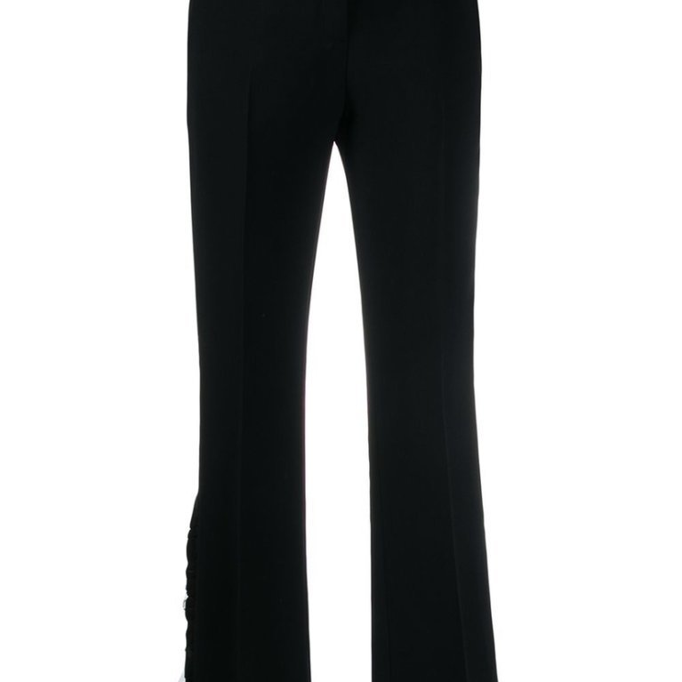Cropped Tulle-Panel Trousers