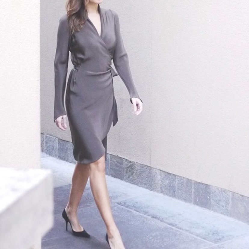 Wrap Dress in Silk Pewter