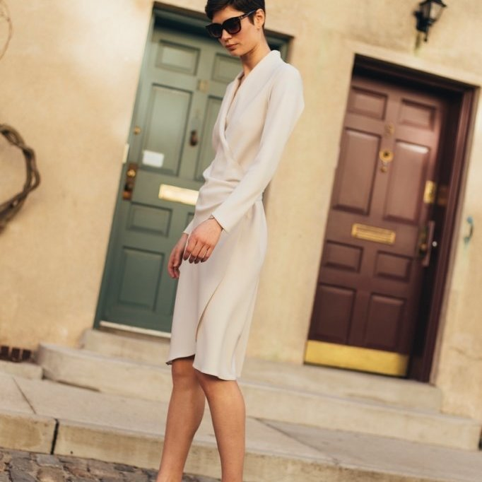 Wrap Dress in Ecru Crepe