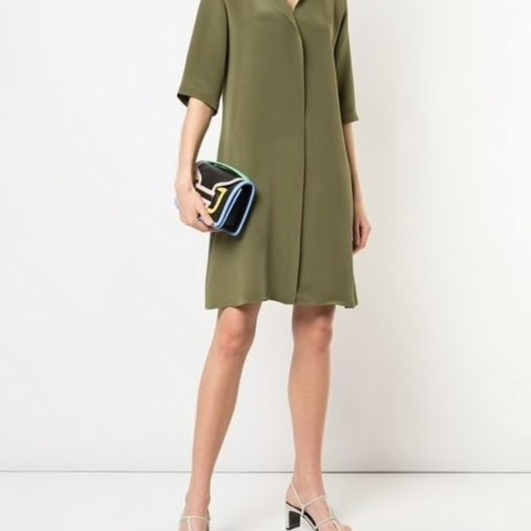 Minimal Mini Dress in Olive Green