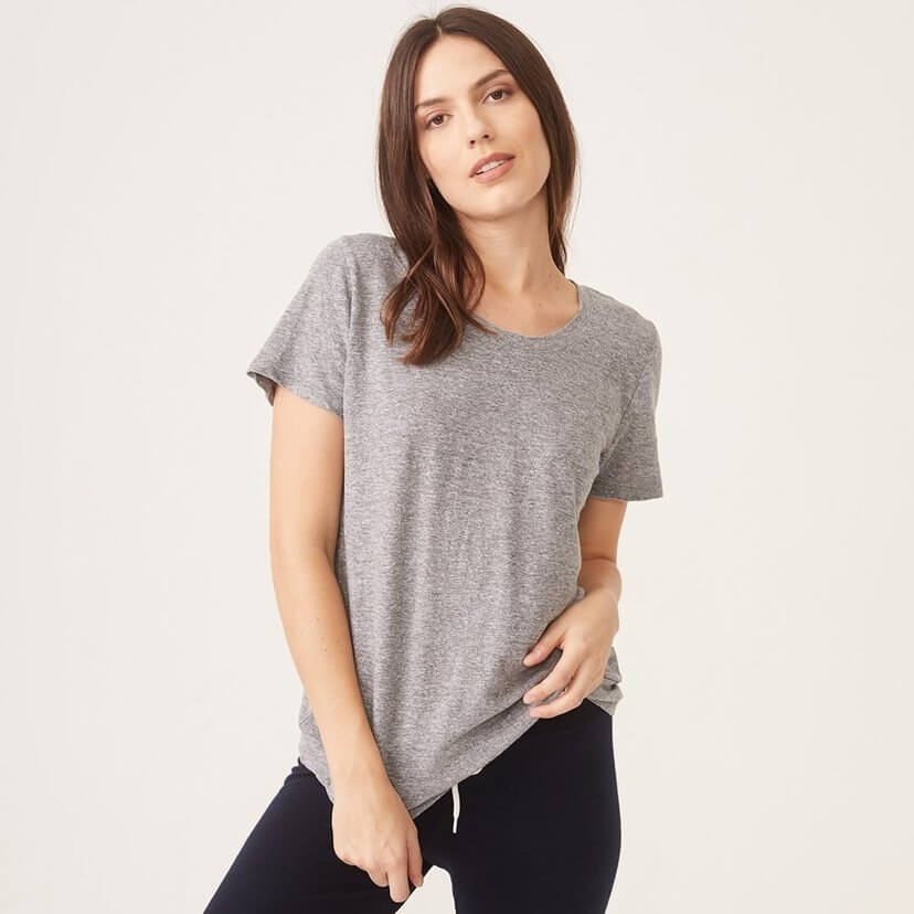 Textured Tri-Blend Relaxed Crew Tee in Grey