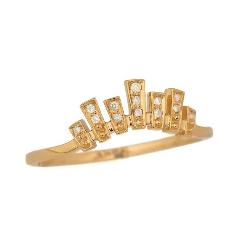 Irregular Crown and Diamonds Ring