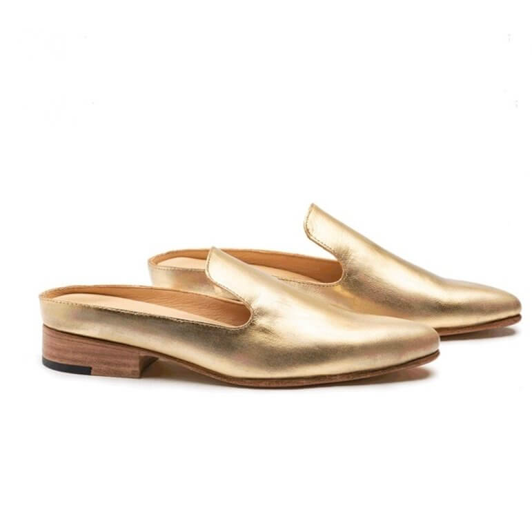 Grace Gold Distressed Mules