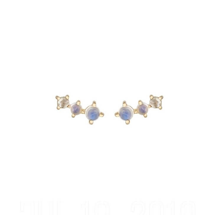 Moonstone & Diamond Climbing Earrings