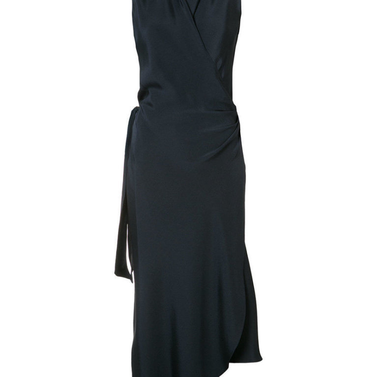 Wrap Dress in Navy Blue Satin Silk