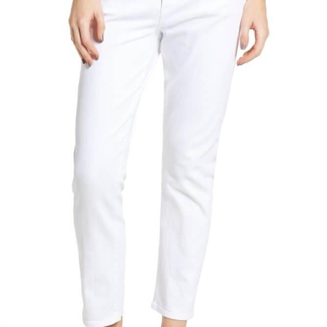 Elsa Mid Rise Slim Crop in Optic White