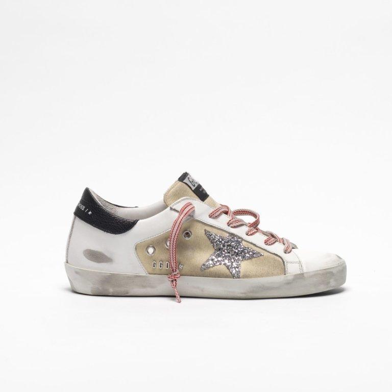 Superstar Beige Canvas Silver Glitter Star Sneakers