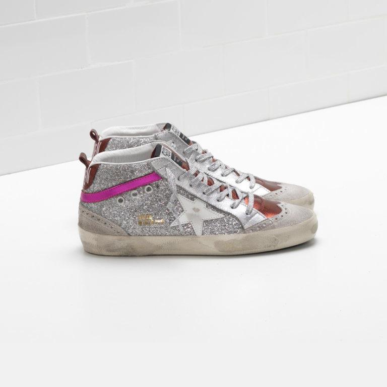 Mid Star Silver Glitter Sneakers
