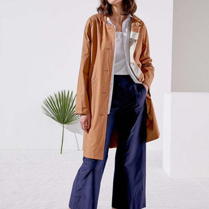 Button Down Coat in Tan
