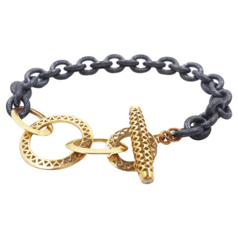 Ray Griffiths Crownwork Links in 18K Gold, Diamonds and Oxidized Silver Links