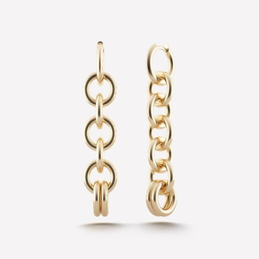 Columba Yellow Gold Chain Earrings