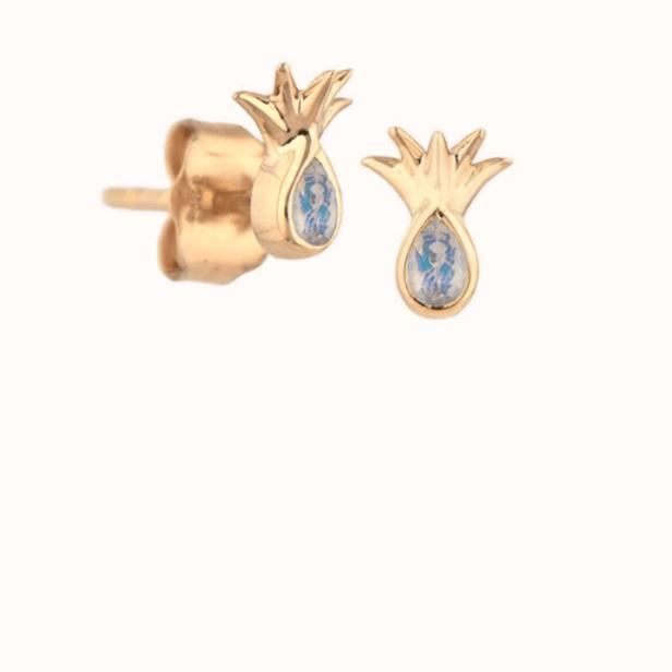 Moonstone Mini Pineapple Stud Earrings