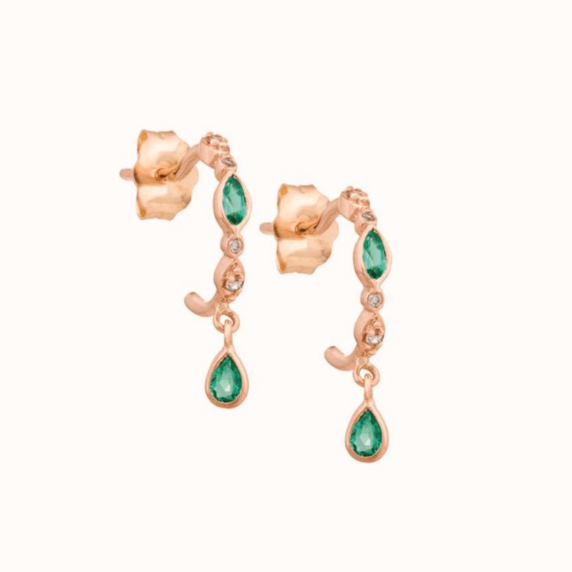 Emerald & Diamond Hoop Earrings