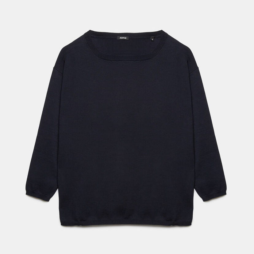 Cotton Sweater in Navy
