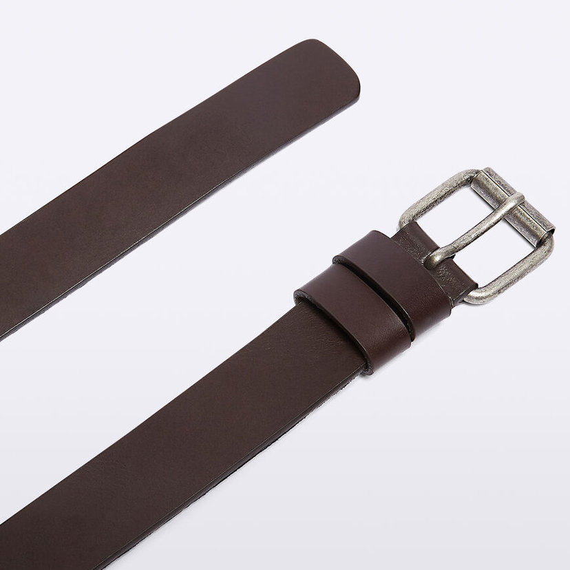 "Dark Brown Leather 1 1/2"" Belt"