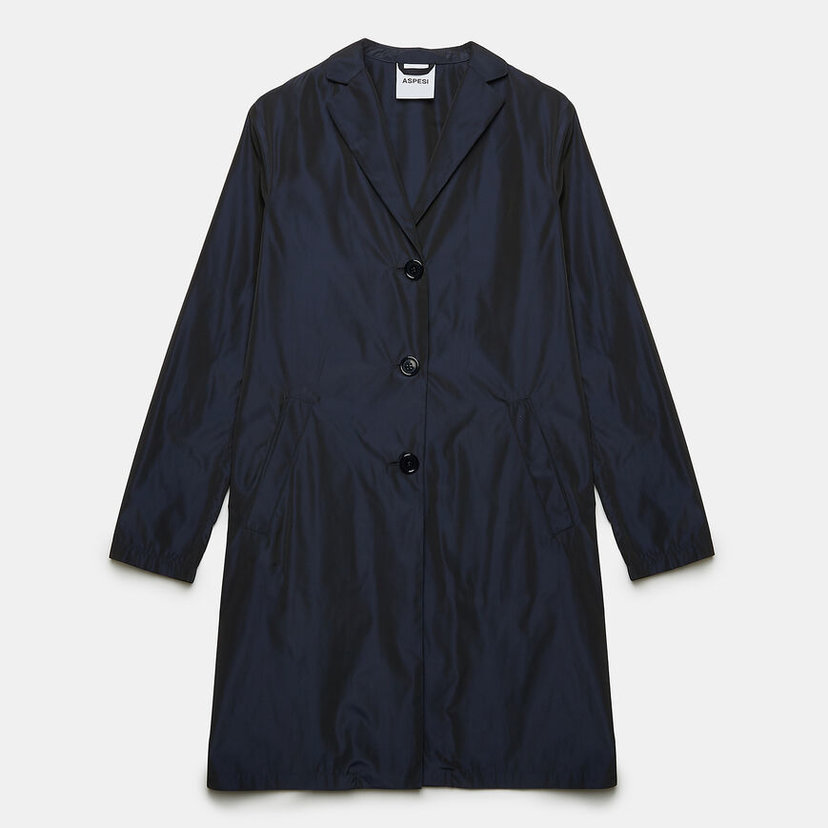 Stracotto Coat in Navy Taffeta