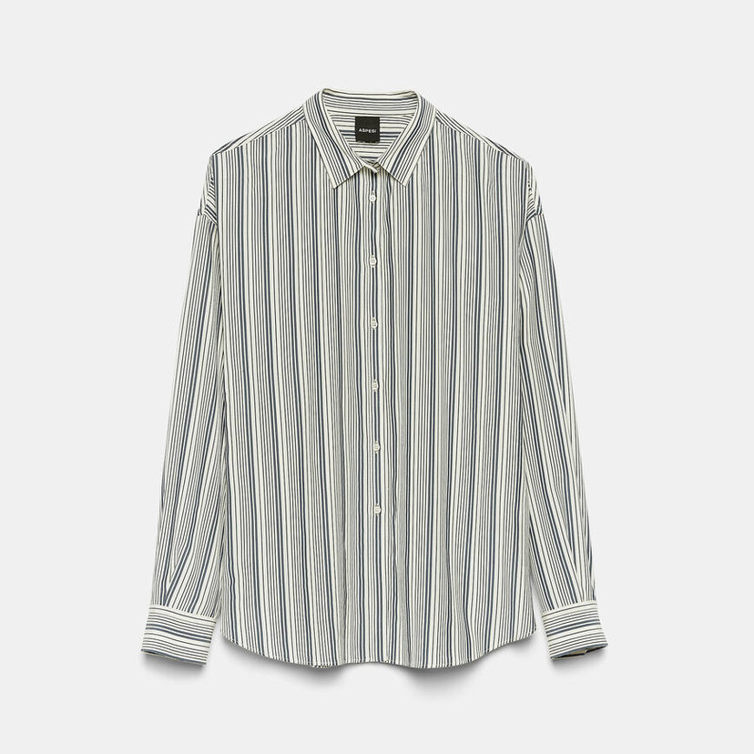 Stretch Crepe De Chine Striped Blouse