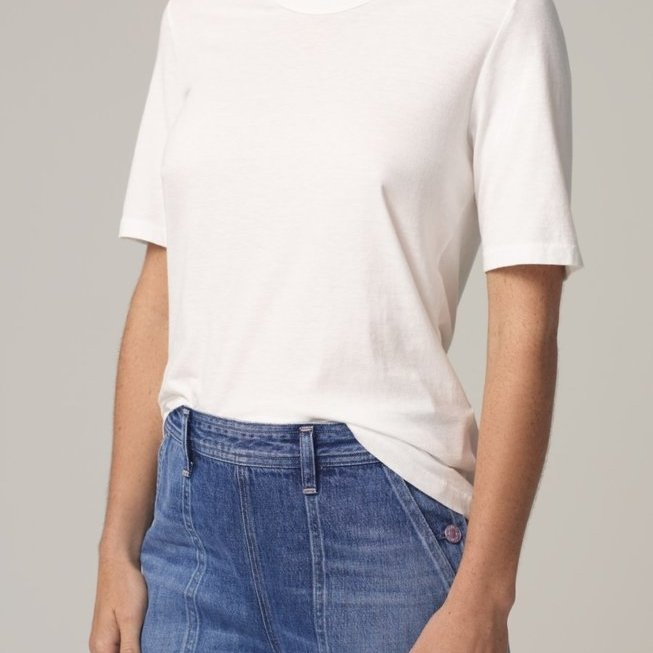 Janelle Scoop Neck Tee in Chalk