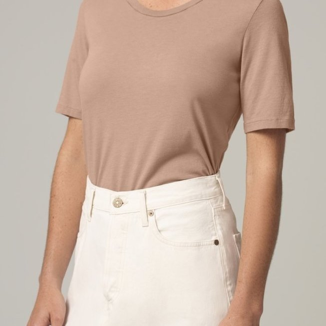 Janelle Scoop Neck Tee in Toast