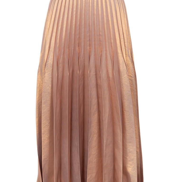 Pleated Skirt in Metallic Rose