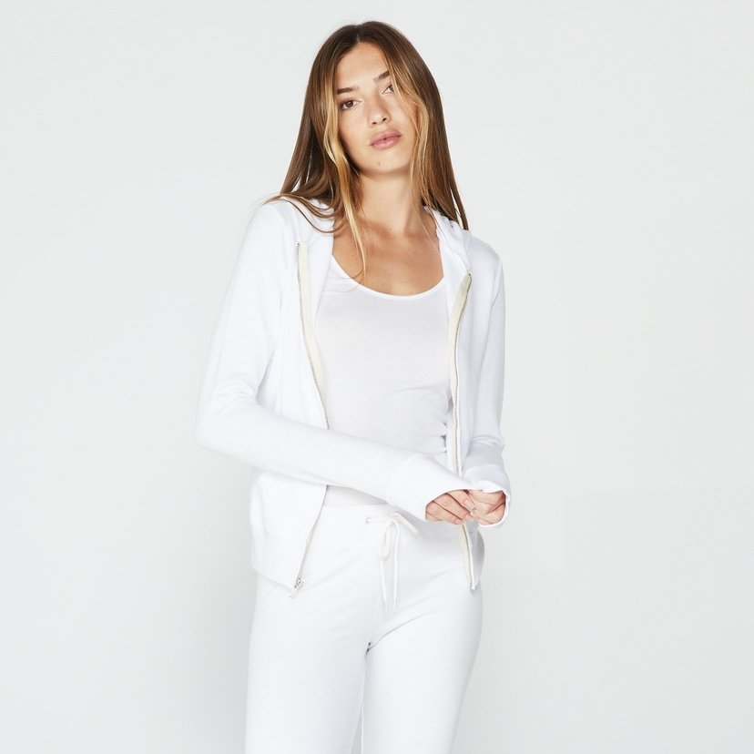 Supersoft Zip Up Hoody in White