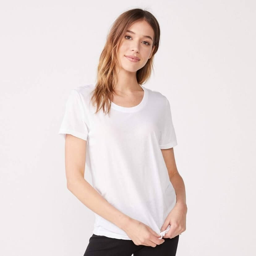 Tissue Cotton Relaxed Crew Tee in White