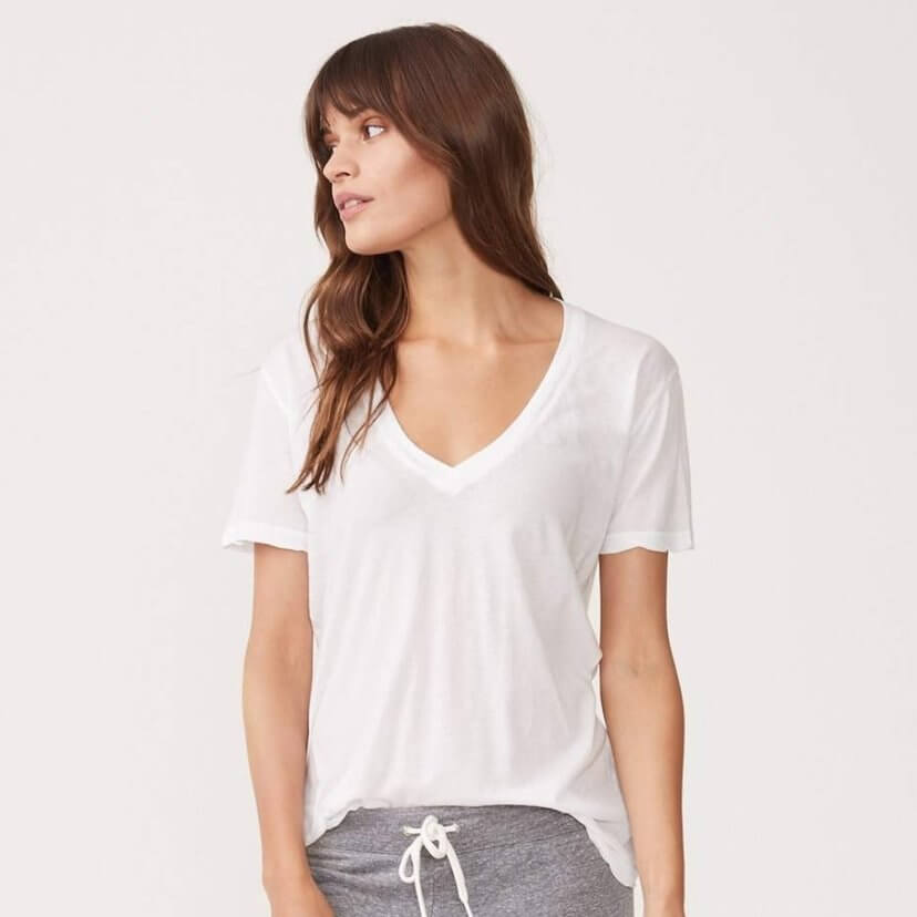 Tissue Cotton Relaxed Vee Tee in White