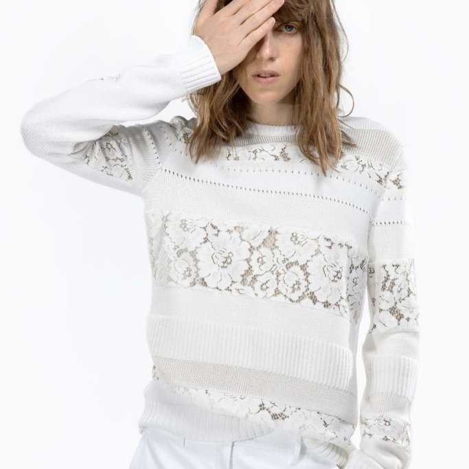 Floral Lace Insert Sweater