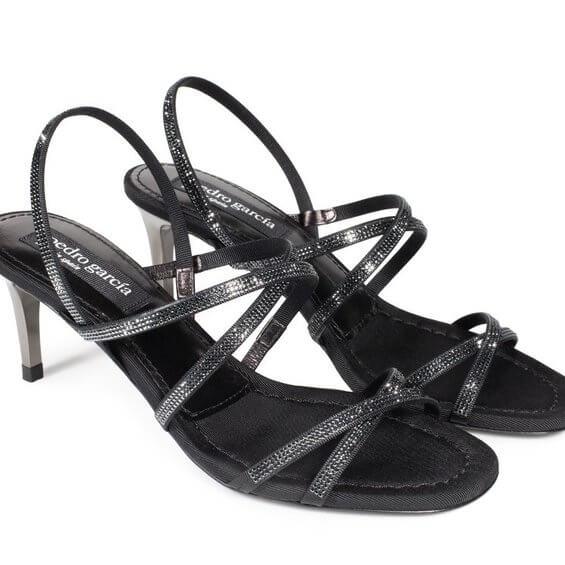 Xareni Crystal Sandal in Hematite