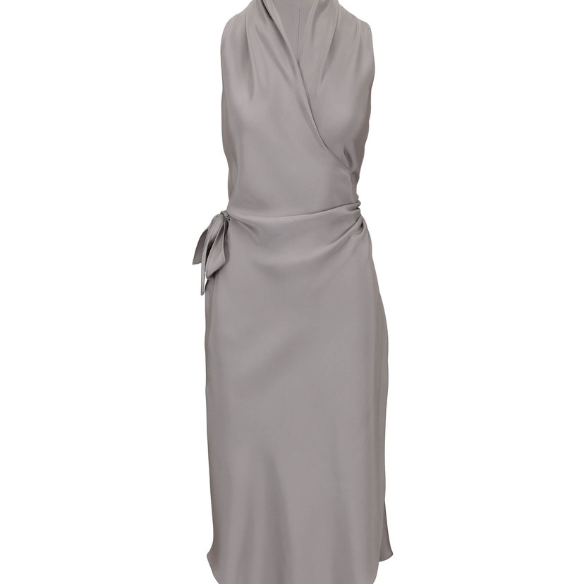 Signature Wrap Dress in Victor Gray Satin