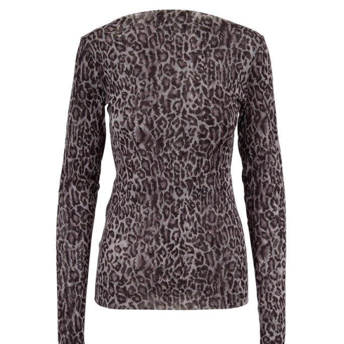 Leopard Print Long Sleeve Top in Nickle Tulle