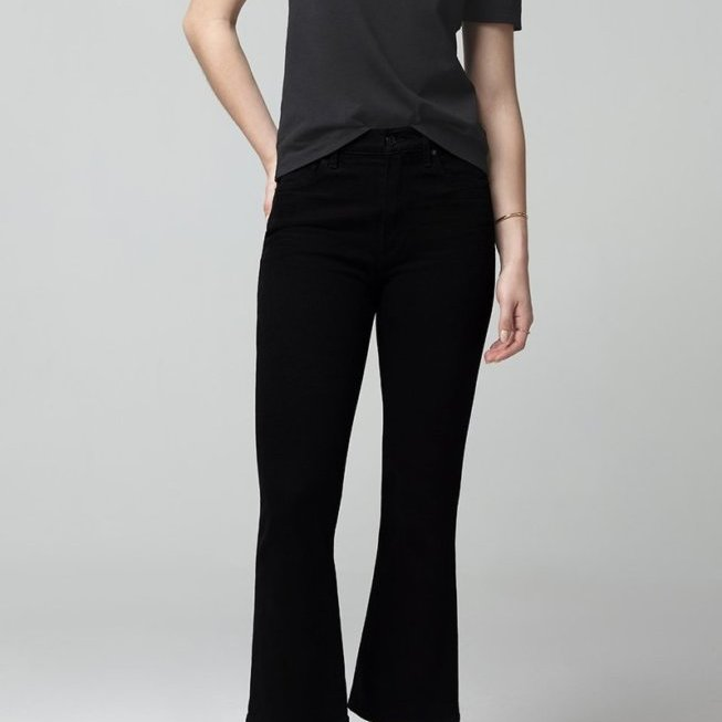 Demy Cropped Flare in Sueded Black