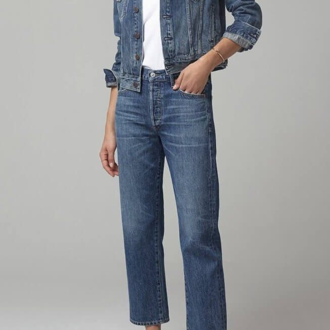 Emery High Rise Relaxed Fit in Blue Rose