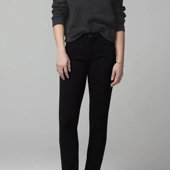 Harlow Ankle Mid Rise Slim in Plush Black