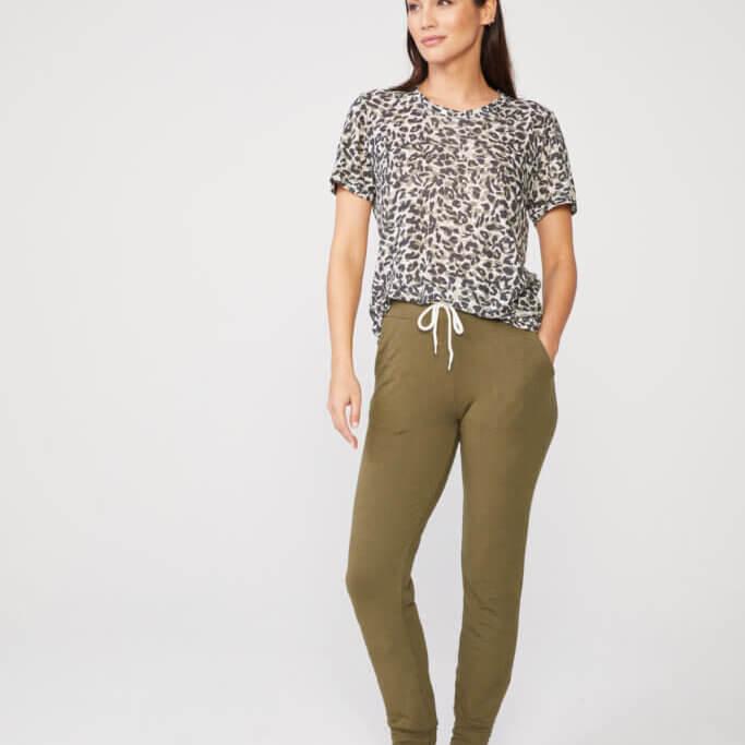 Animal Print Girlfriend Tee in Green