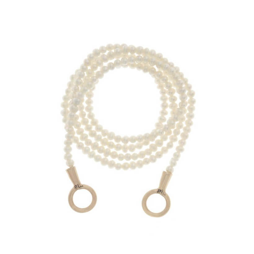 Seed Pearl Strand w Yellow Gold Tips